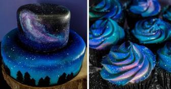 صور كعكة زفاف جميلة بألوان المجرات